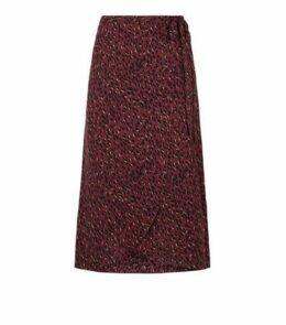 Petite Red Spot Side Split Midi Skirt New Look