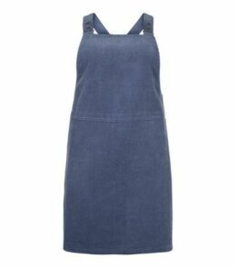 Curves Blue Corduroy Pinafore Dress New Look
