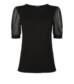 Black Mesh Balloon Sleeve Jersey T-Shirt New Look