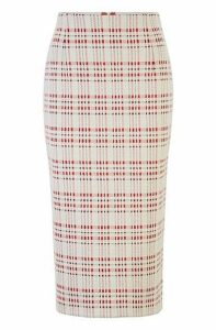 Slim-fit pencil skirt in checked stretch jersey