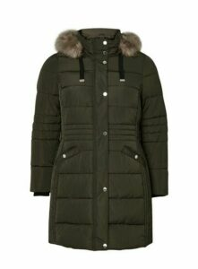 Khaki Faux Fur Trim Padded Coat, Khaki