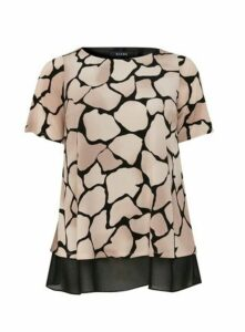 Neutral Pebble Print Overlay Top, Beige/Natural