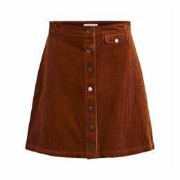 Buttoned Velvet Skirt