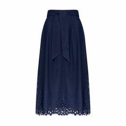 Midi Skirt with Openwork Hem