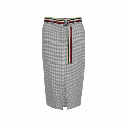 Checked Mid-Length Skirt in Cotton/Linen Mix