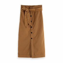 Cotton Mix Buttoned Skirt
