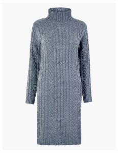 M&S Collection Cotton Cable Knit Midi Dress