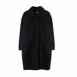 Long Straight Cut Bouclé Coat with Pockets