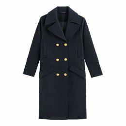 Longline Pea Coat in Wool Mix