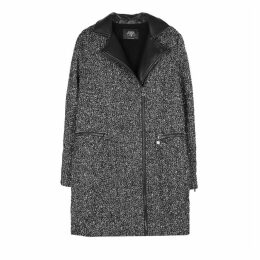 Bouclé Coat with Faux Leather Collar