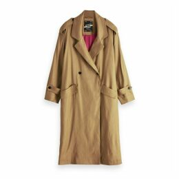 Long Linen Mix Raincoat