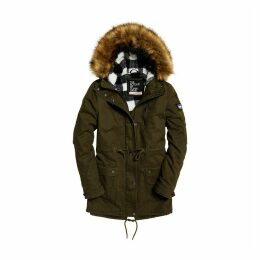Mid-Length Parka with Faux Fur Hood