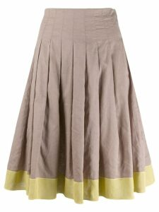 Prada Pre-Owned colour blocked full skirt - Brown