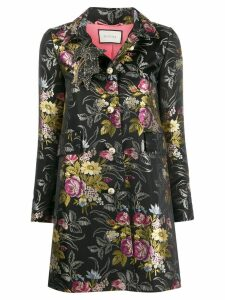 Gucci Pre-Owned floral jacquard coat - Black