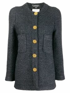 Chanel Pre-Owned 1990s collarless slim-fit coat - Grey