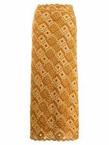 Comme Des Garçons Pre-Owned 1990s floral tile skirt - Brown