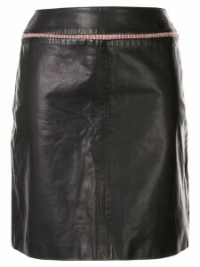Chanel Pre-Owned tweed detail leather skirt - Black