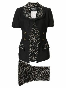 Chanel Pre-Owned sketch floral printed skirt suit - Black