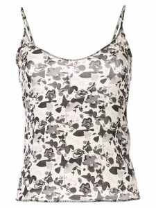 Chanel Pre-Owned floral logo camisole - Black