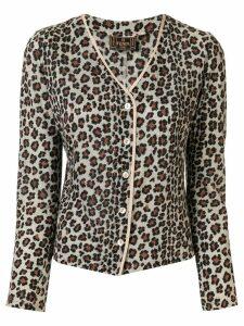 Fendi Pre-Owned leopard printed slim-fit cardigan - Brown