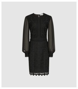 Reiss Aria - Lace Dress With Sheer Sleeves in Black, Womens, Size 16