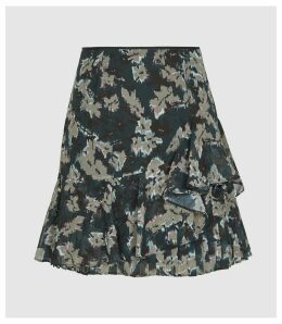 Reiss Lyon - Printed Mini Skirt in Navy, Womens, Size 14