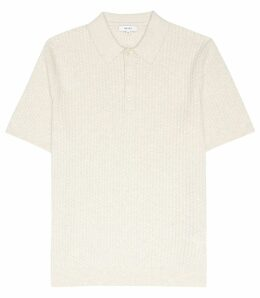 Reiss Alfred - Textured Polo Shirt in Oatmeal, Mens, Size XXL