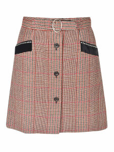 Miu Miu Checked Buttoned Detail Skirt