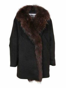 Black Fur And Wool Coat