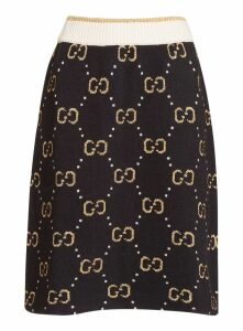 Gucci Knitted Gg Wool Skirt