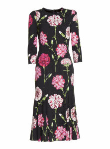 Dolce & Gabbana Carnation Print Mini Dress With Embroidery