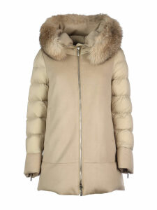 Moorer Leno Mandorla Coat/fresia-le In Feather And Wool