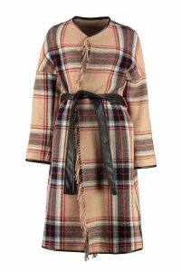 Pinko Riannodare Tartan Wool-blend Coat