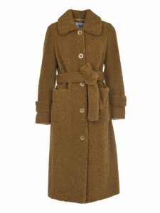 STAND STUDIO Lottie Brown Faux Fur Coat