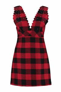 Pinko Mescolare Embellished Tartan-wool Dress