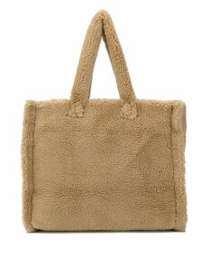 Stand shearling tote bag - Neutrals