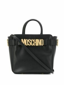 Moschino logo plaque tote bag - Black