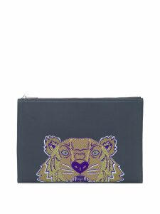 Kenzo embroidered tiger clutch bag - Grey