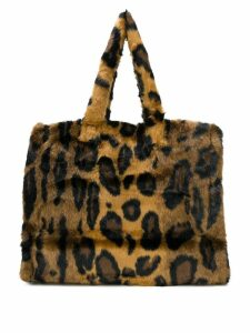 Stand furry leopard print tote - Brown