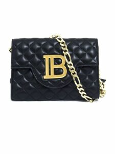 Balmain Quilted Black Leather Benveloppe Clutch