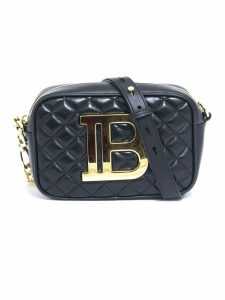 Balmain Black Lambskin Quilted B Camera Bag
