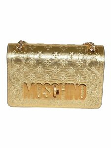 Moschino Logo Plaque Embossed Detail Shoulder Bag
