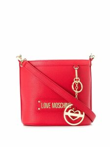 Love Moschino logo plaque bucket bag - Red