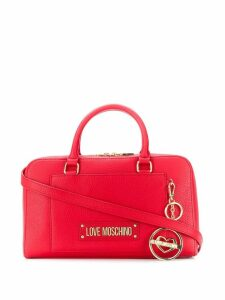 Love Moschino logo plaque tote bag - Red