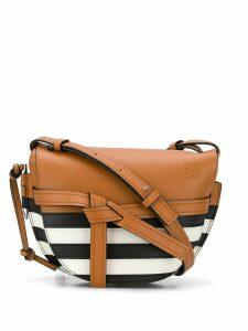 Loewe small Gate striped shoulder bag - Brown/Black/White
