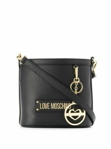Love Moschino logo plaque bucket bag - Black