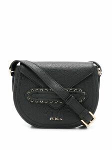 Furla pebbled logo cross-body bag - Black