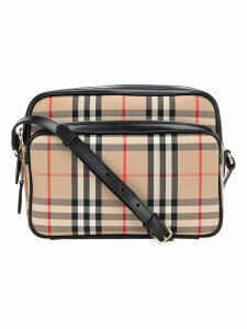 Burberry London Medium Camera Bag With Vintage Check Motif And Leather Trim