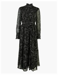 M&S Collection Swirl Print Belted Relaxed Midi Dress