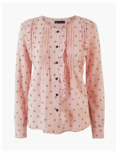 M&S Collection Cotton Rich Pintuck Pioneer Blouse